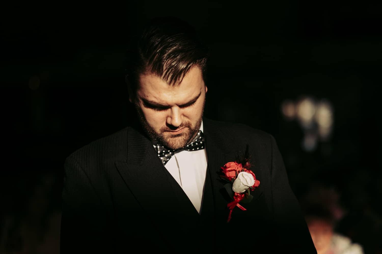 a pensive groom