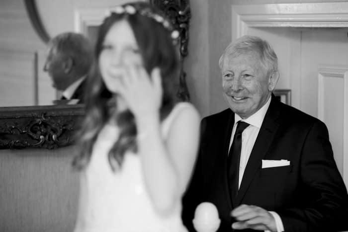 bride's dad comes into the room