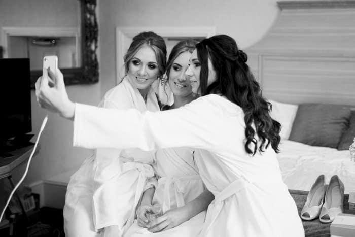 bride and bridesmaids selfie