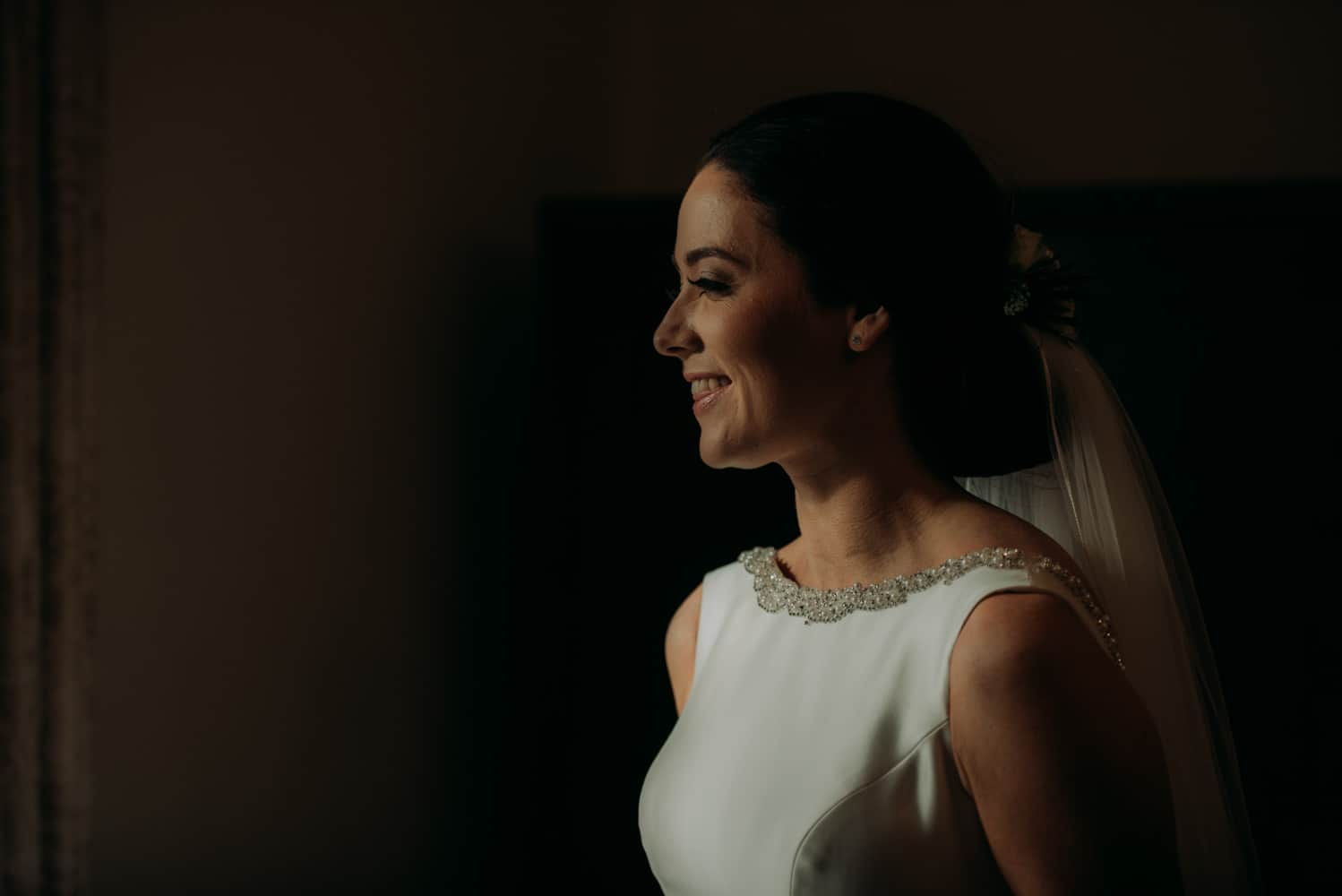 gorgeous window lit bride portrait