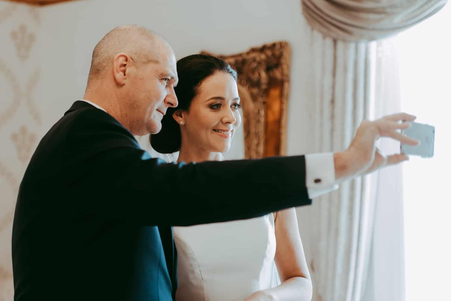 bride selfie with her dad