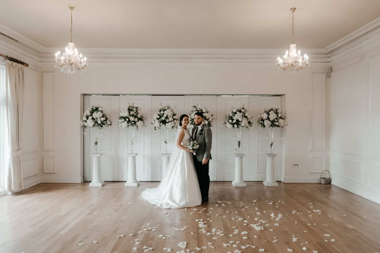 stunning indoor bride and groom portrait