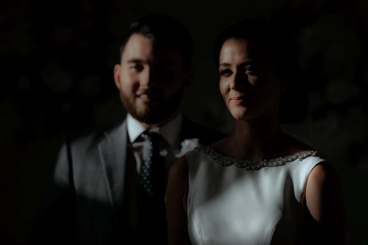 dramatic bride and groom portrait