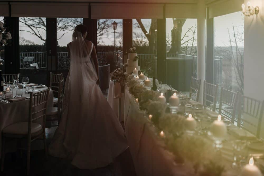Bride in the setting sun