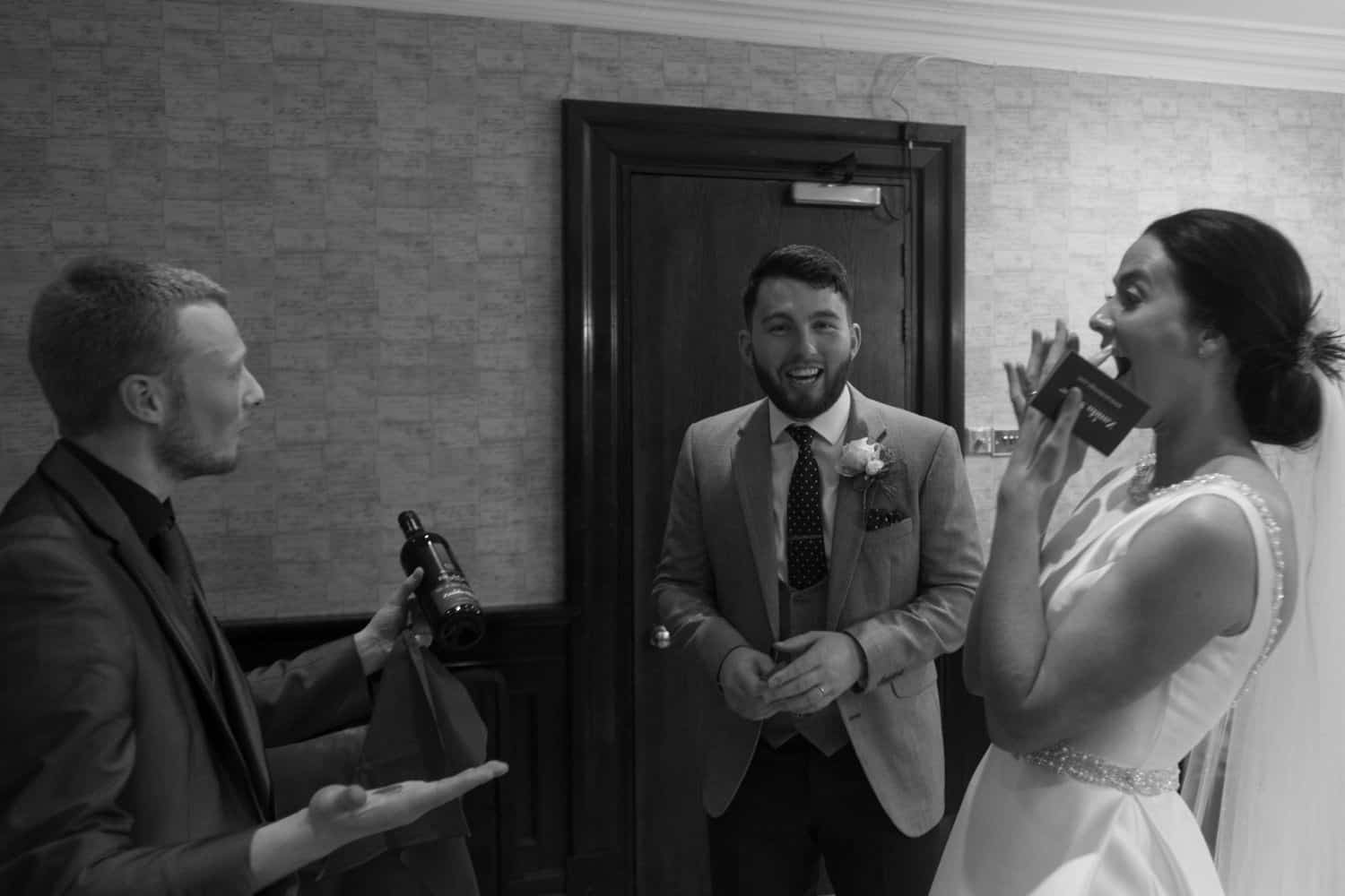 bride amazed by magic trick