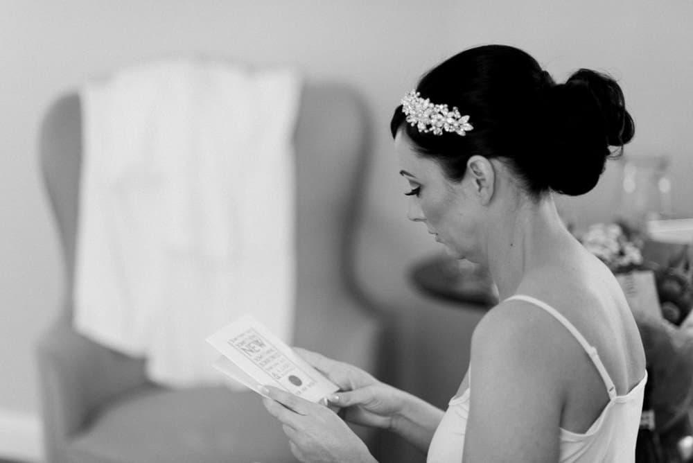 bride reads a letter