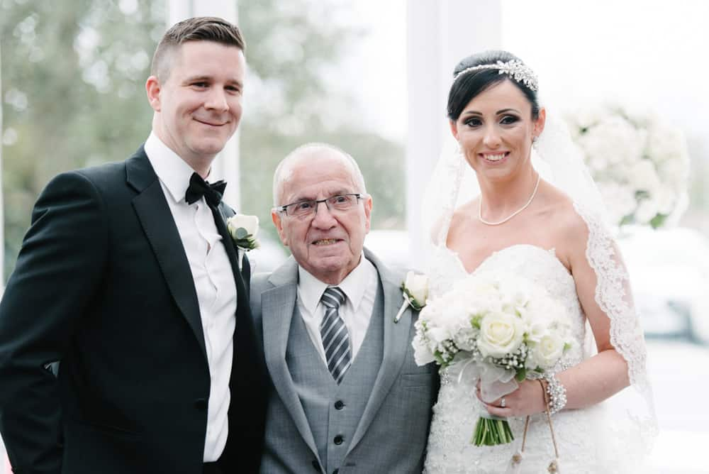 bride and groom and grandad