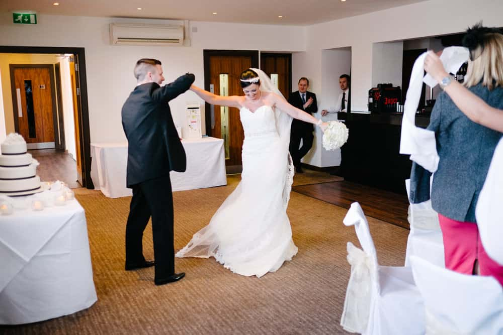 entrance of bride and groom to wedding breakfast