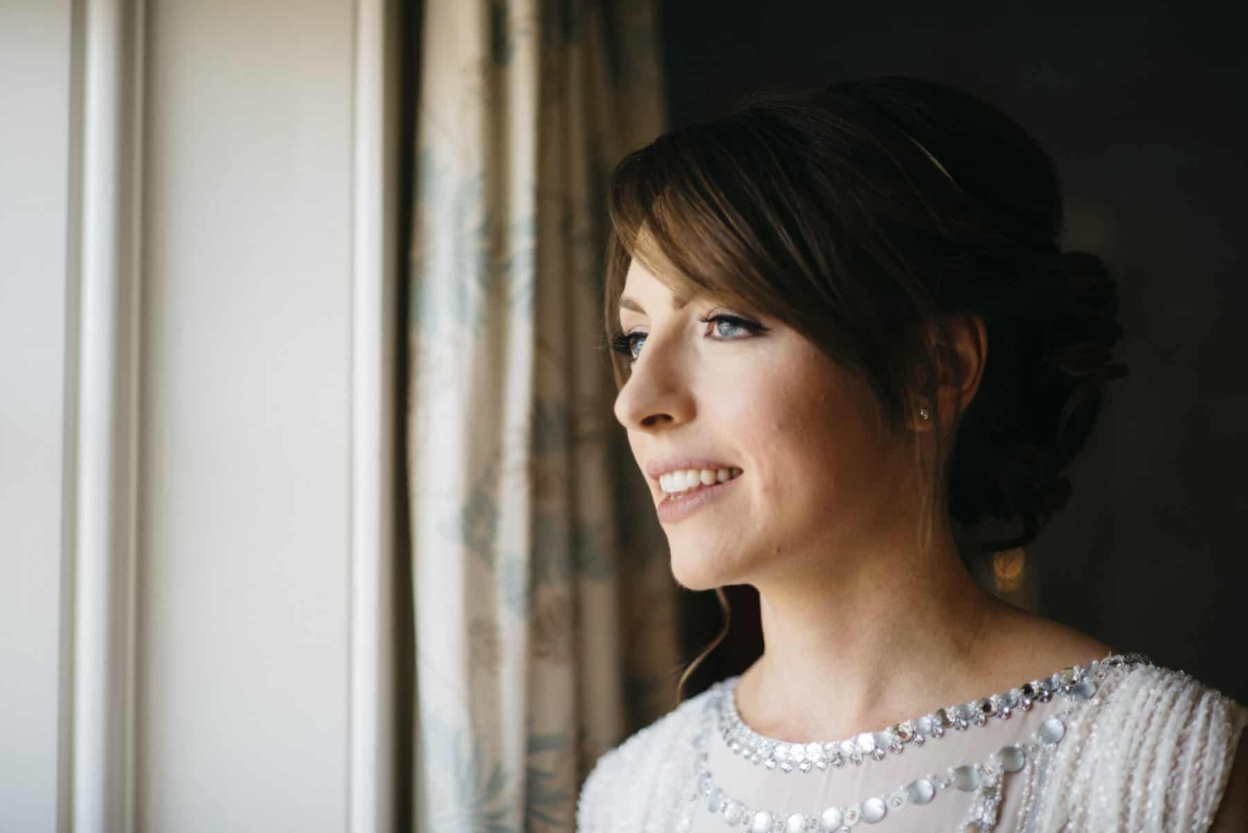 bride in window light portrait
