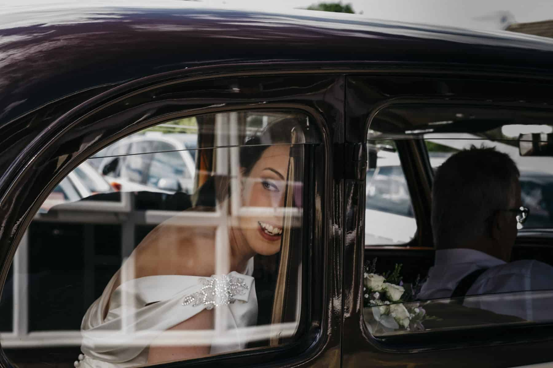 bride in car window