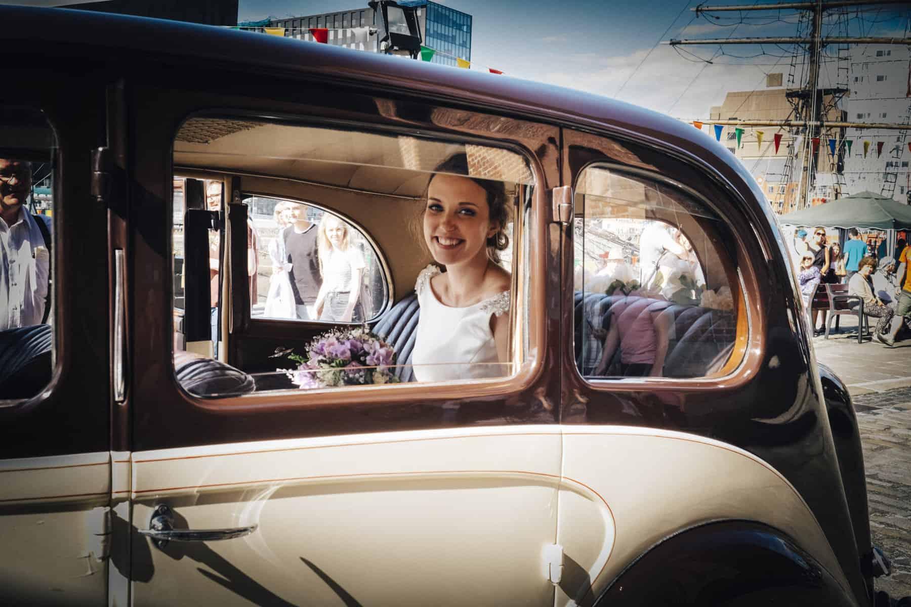 bride in car portrait