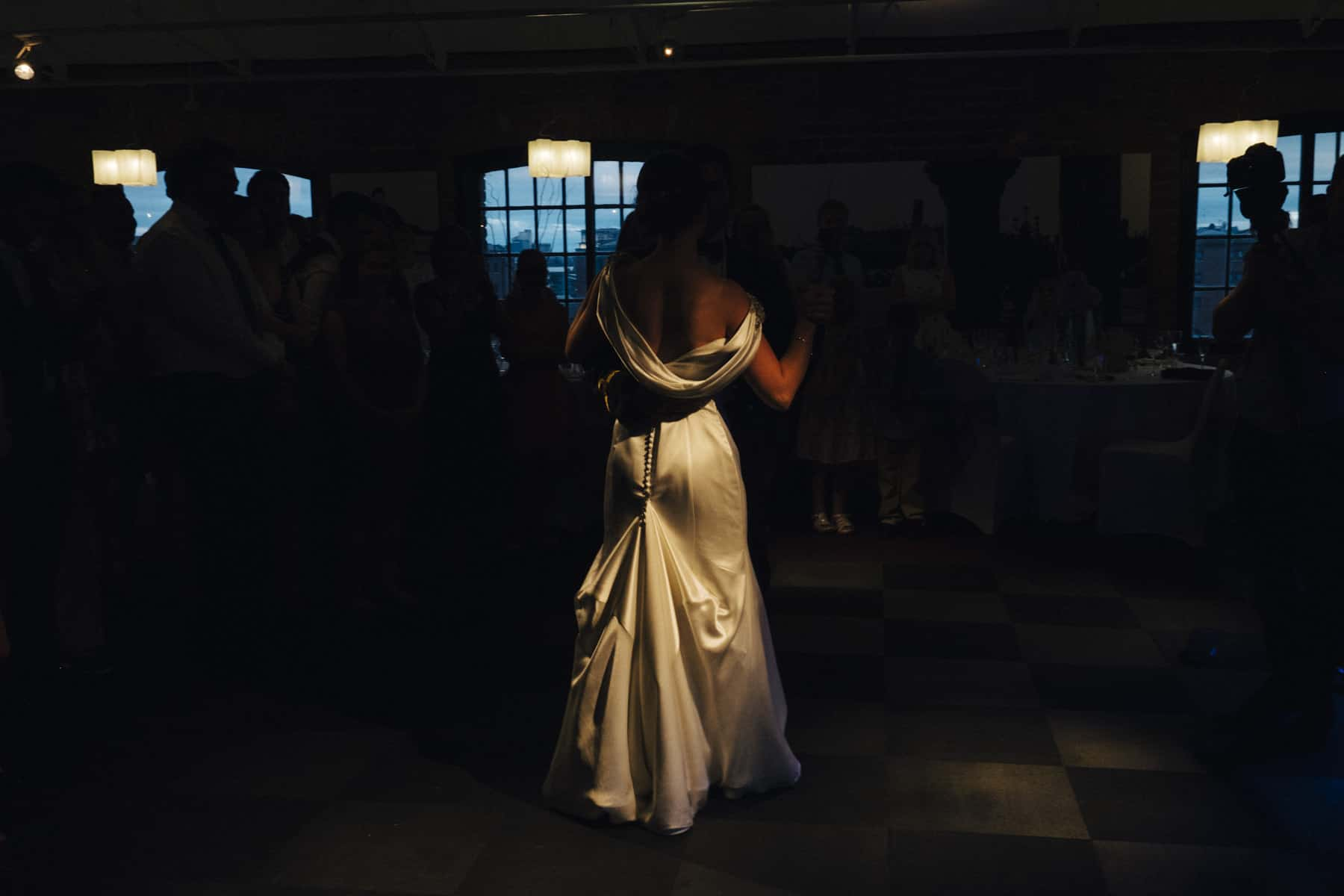 beautiful light on bride's dress