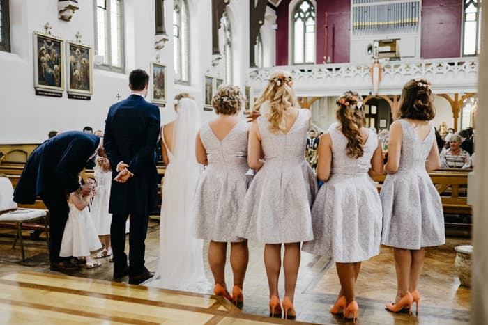 the bridal party in church