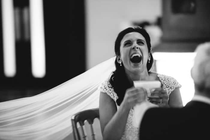 bride enjoys the speeches
