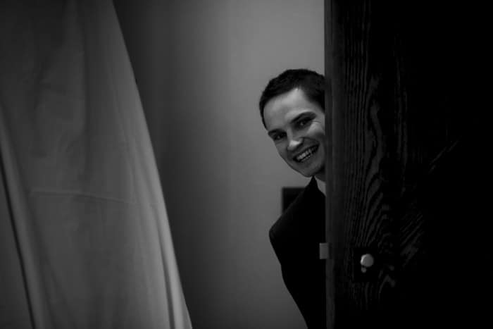 bride's brother sneaks a look