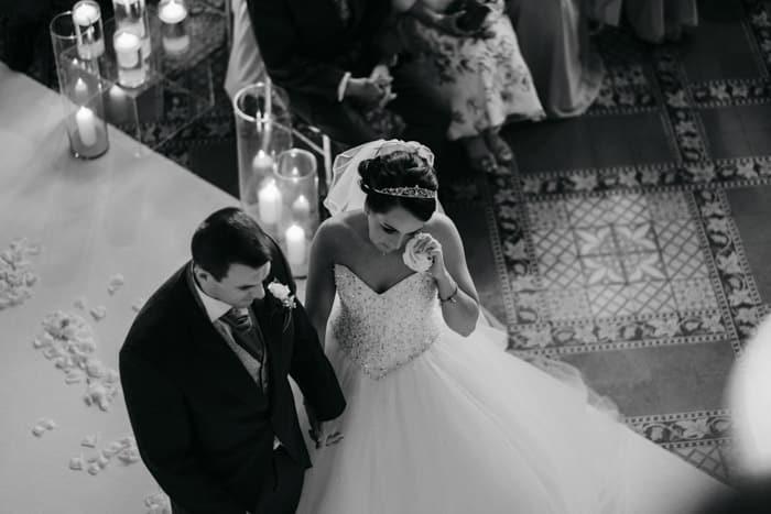 Bride sheds a tear
