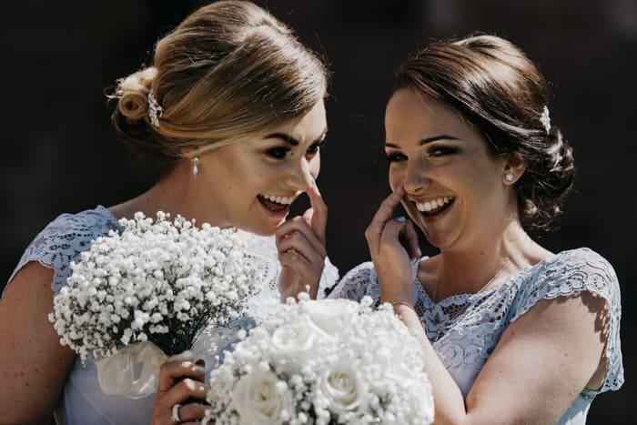 bridesmaid share a joke