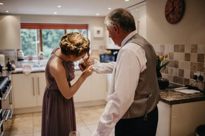 getting bride's dad ready