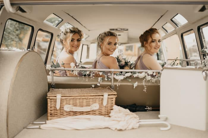 bridesmaids in the camper