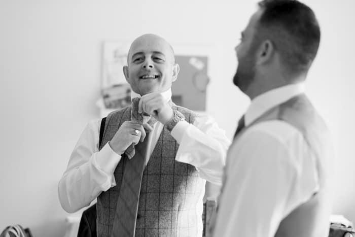 groom shares a joke