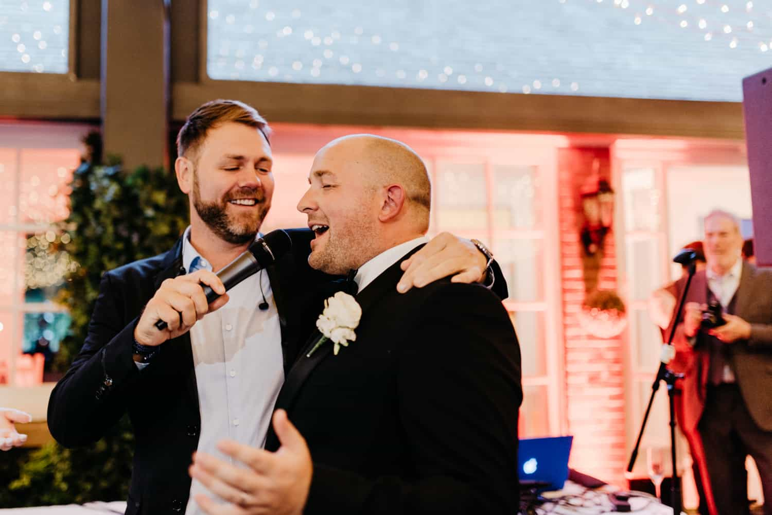 groom joins in singing