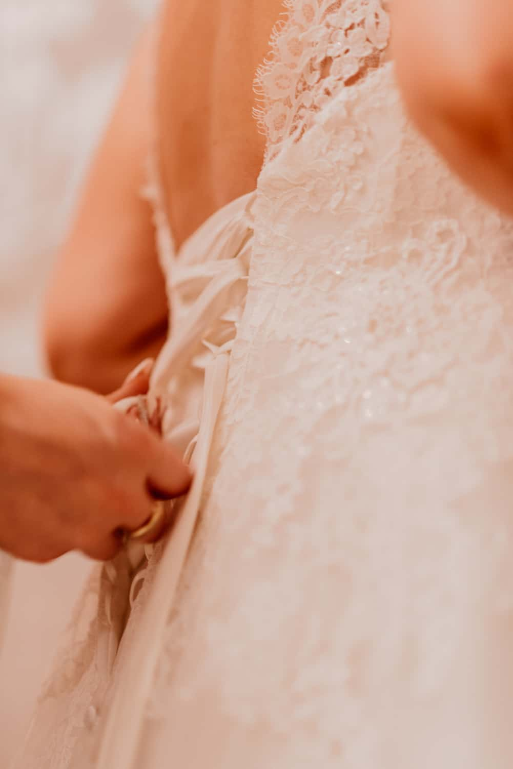 fastening the dress