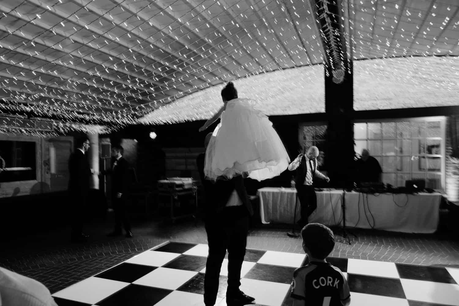 groom and his daughter on the dance floor