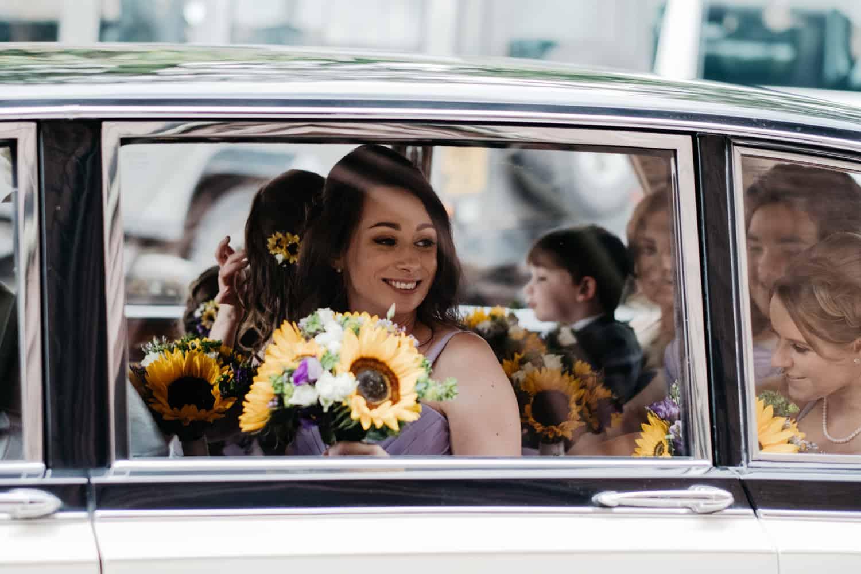 wedding cars arrive
