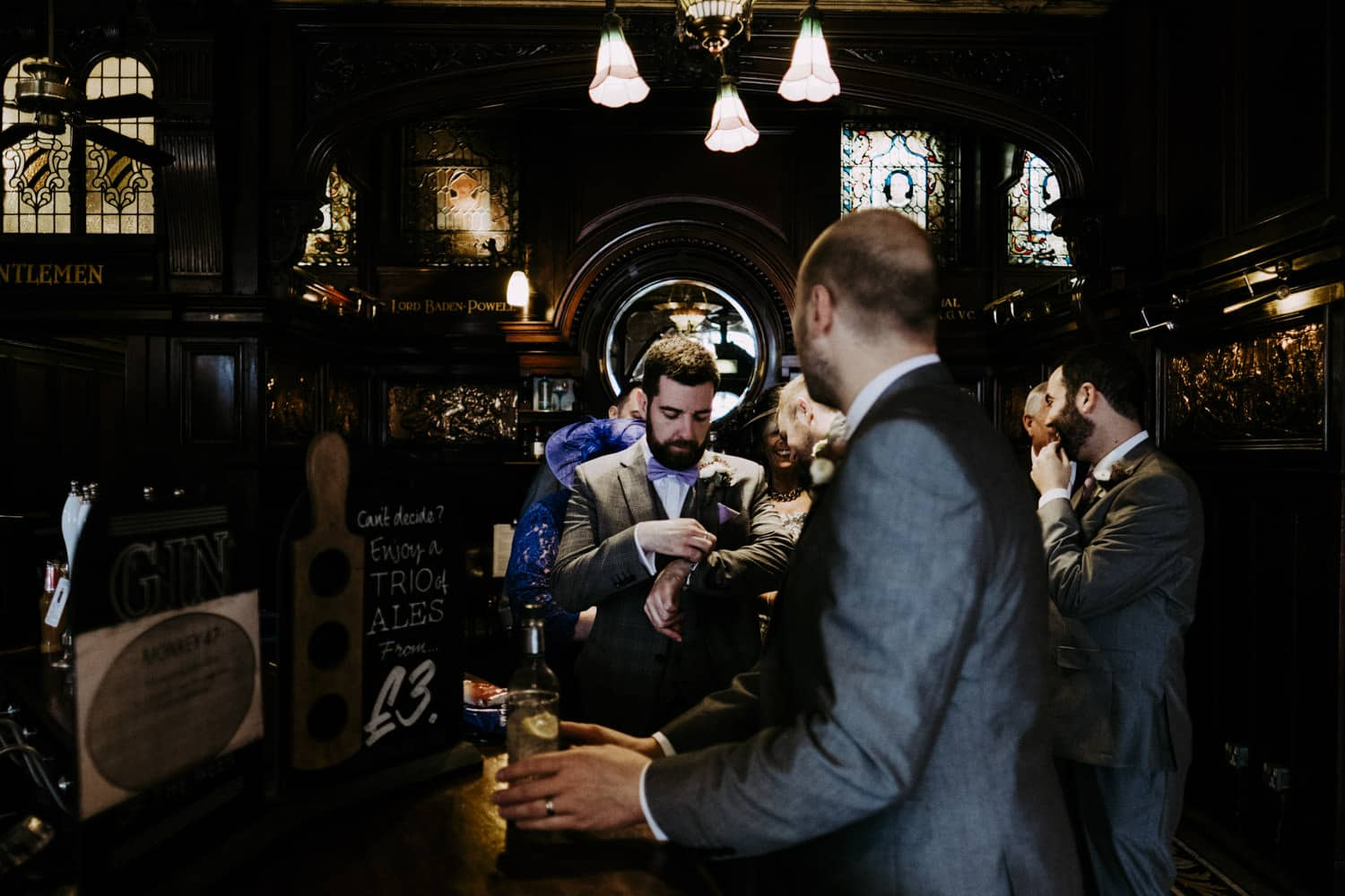 groomsmen in the pub