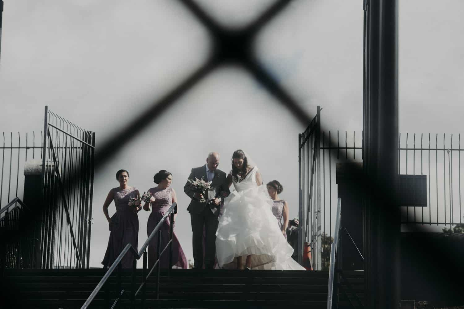 bridal party on the steps