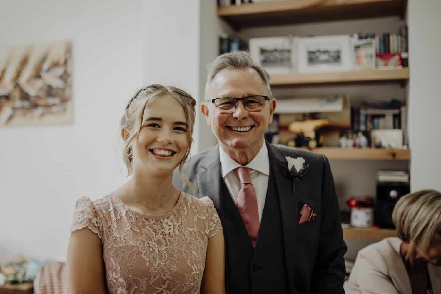 bridesmaid and her grandad
